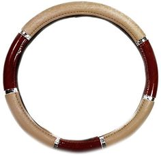 "Custom & Unique {Universal 14.5 to 15"" Inch Fit} Tight Grip ""Fitted"" Steering Wheel Protector Cover Made of Synthetic Leather w/ Chrome Trim & Fancy Wood Grain Handle Design {Accord Red-Brown & Tan Colored} mySimple Products"