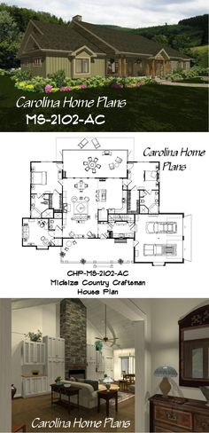46 best House Plans with Split Bedroom Layout images on Pinterest     Midsize Country Craftsman House Plan with split bedroom layout  ideal for  downsizing