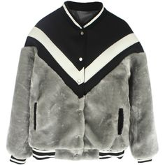 Choies Gray Long Sleeve Faux Fur Contrast Detail Baseball Coat (175 BRL) ❤ liked on Polyvore featuring outerwear, coats, jackets, tops, coats & jackets, grey, long sleeve coat, fake fur coats, grey faux fur coat and gray coat
