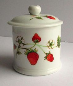 Vintage Wild Strawberry Jam Lidded Pot with slot for spoon  5e67f860a3815