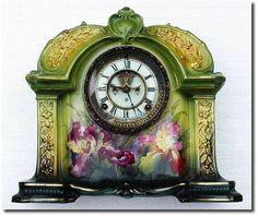 Ansonia Royal Bonn Porcelian mantle clock with open escapement