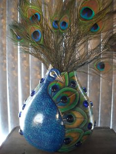 Peacock Gourd OOAK Hand Painted & Decorated by CCRockCreations Peacock Crafts, Peacock Decor, Peacock Colors, Peacock Art, Peacock Feathers, Decorative Gourds, Hand Painted Gourds, Most Beautiful Animals, Gourd Art