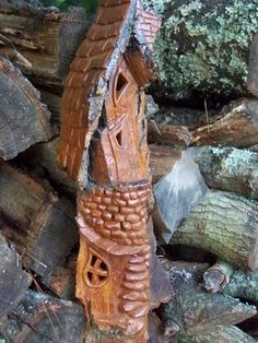 Carving Cottonwood Bark Whimsical House | home search register home member bryanm my carvings photo options more ...