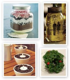 Quick, easy, and inexpensive DIY gift ideas for Christmas.  LOVE the hot chocolate in a jar for a hostess gift.