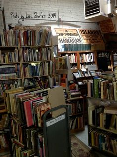 Stacks and stacks of books at Ken Sanders' Bookstore in Salt Lake City. http://lisashafer.blogspot.com/2014/08/adventure-in-used-book-store.html