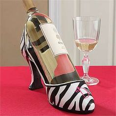 This Domestic Diva& Monogram High Heel wine holder is adorable! You can have your initial personalized on the shoe, too! Great idea for girls night, bachelorette party and as a hostess gift! Zebra Shoes, Striped Shoes, Wine Shoes, Diva Party, White Zebra, Only Fashion, Girls Night Out, Zebra Print, Personalized Gifts