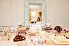 beige dessert table