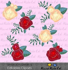 Vintage Flowers Cliparts. Flowers vector graphics, Vintage Flowers digital clip art, digital images. Commercial use. Model Vintage Flowers 4