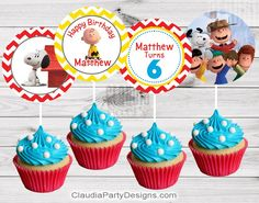 Peanuts Birthday Cupcake Toppers, peanuts party ideas Sets 12, 24, 36 from $10 Visit ClaudiaPartyDesigns.com #peanuts#party#supplies#custom#birthday #snoopy #cupcake #toppers #party #decor #personalized #CharlieBrown #SnoopyParty