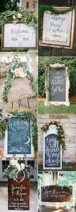 outdoor wedding sign ideas accented with green floral