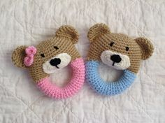 Bear Rattle/ Plush Toy/ Stuffed Toy / Soft by mamamegsyarnshoppe Crochet Baby Toys, Crochet For Boys, Crochet Bear, Crochet Toys Patterns, Amigurumi Patterns, Stuffed Toys Patterns, Crochet Dolls, Baby Knitting, Baby Barn