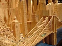 Stan Munro builds famous landmarks out of millions of toothpicks. Toothpick Sculpture, Cool Pictures, Cool Photos, Pick Art, 3d Street Art, Amazing Buildings, Famous Landmarks, Art And Architecture, Wood Art
