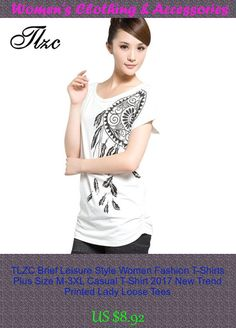 TLZC Brief Leisure Style Women Fashion T-Shirts Plus Size M-3XL Casual T-Shirt 2017 New Trend Printed Lady Loose Tees