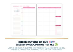 Weekly Planner Printable Erin Condren Style Undated Monday Start