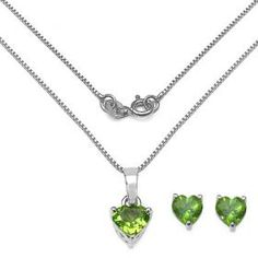 Beautiful Womens White Gold Rhodium Over Solid Sterling Silver 1.60 CTW Peridot 18 Inch Designer Necklace and Earrings Set Auction