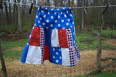 Size 5 - 6 girls patriotic three tier patchwork skirt