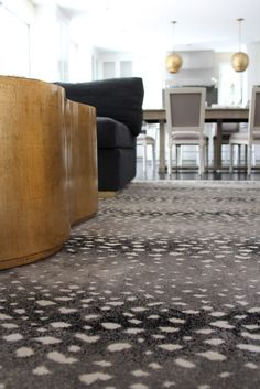 antelope rug and brass lights. Second thoughts on runner? Antelope Rug, Traditional Home Magazine, Moroccan Design, Grey Carpet, Patterned Carpet, Bedroom Carpet, House And Home Magazine, Luxury Living, Traditional House