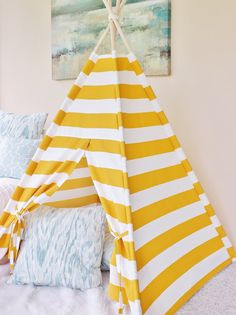 Citrus Stripe Indoor/Outdoor Fabric Play Tent by AshleyGabby : fabric play tent - memphite.com
