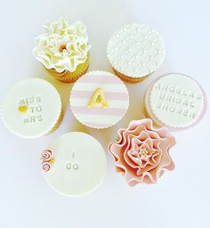 Blush and Gold Bridal Shower Cupcakes by CUPCAKES AND CONFETTI