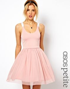 ASOS PETITE Exclusive Strappy Back Tutu Dress $52 #fashion #dress #pink #party #tutu #flare #pastel #outfit #clothes #christmas #new year #club #date #girlie #style #stylish #chic