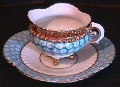 19th C. German Pearl Glaze Demitasse Cup & Saucer