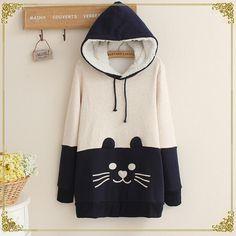 Cute cat fleece pullover hoodie coat