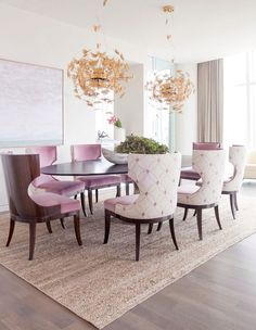 Dining Room Purple Chair Ouval Table Cream Carpet Flower Vase Green Plant Pendant Glass