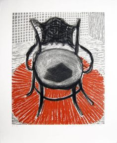 David Hockney, Chair with Book on Red Carpet on ArtStack #david-hockney #art