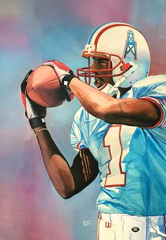 Kevin Dyson Houston Oilers Tennessee Titans watercolor by Michael Pattison