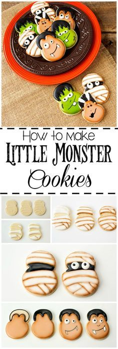 How to Make Little Monster Cookies via www.thebearfootbaker.com Halloween Cookies Decorated, Halloween Sugar Cookies, Halloween Baking, Halloween Goodies, Halloween Cupcakes, Halloween Treats, Decorated Cookies, Halloween Party, Fall Cookies