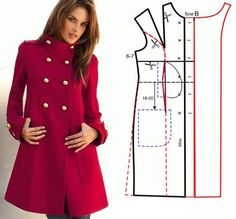 Altering a straight coat pattern.} More advanced sewers can probably figure out how to change the front pattern pieces of a similarly styled jacket to include an extended facing, front in-seam pockets and a wider bottom hem. Coat Patterns, Clothing Patterns, Dress Patterns, Sewing Patterns, Sewing Clothes, Diy Clothes, Dress Sewing, Diy Vetement, Diy Fashion