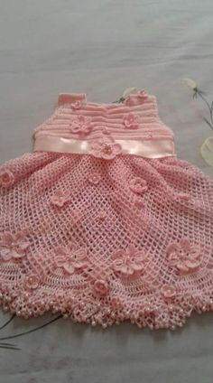 Best 12 Crochet pink and gray baby dress set with rosebuds comes with booties and a headband Crochet Baby Dress Pattern, Baby Dress Patterns, Baby Girl Crochet, Crochet Baby Clothes, Crochet For Boys, Love Crochet, Baby Knitting Patterns, Beautiful Crochet, Crochet Patterns