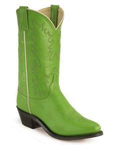 I love the color! Although i wish it were square toed! Green Old West Corona Leather Cowboy Boots