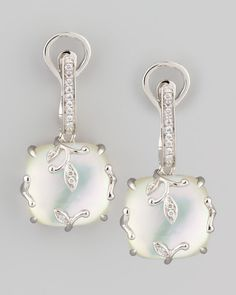 White Gold Vine Mother-of-Pearl & Diamond Earrings by Frederic Sage at Neiman Marcus. Pearl And Diamond Earrings, Pearl Diamond, Diamond Studs, Mother Of Pearl Jewelry, Bijoux Art Deco, White Gold Jewelry, Gold Jewellery, Sell Gold, Designer Earrings