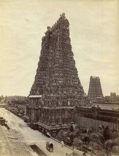 Meenakshi Amman Temple, Madurai Tamil Nadu - Vintage Photograph - Old Indian Photos