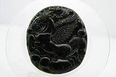 #43 Chinese natural nephrite fine black jade Carving pendant Horse 马