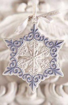 Wedgwood Pierced Snowflake Ornament - Colors:  Pale Blue, White