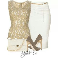 Elegant outfit with gold and white