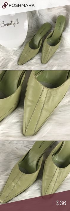 "Karen Scott Cass Heel Slip On Leather Heels These Karen Scott soft green leather approx 2.75"" heels are in excellent slightly used condition. Worn once or twice. Karen Scott Shoes Mules & Clogs"