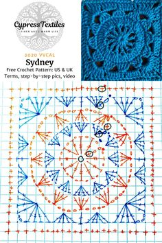 Crochet Motif Patterns, Granny Square Crochet Pattern, Crochet Diagram, Crochet Chart, Crochet Squares, Crochet Granny, Crochet Designs, Free Crochet, Granny Squares