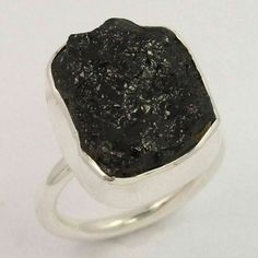 Natural BLACK TOURMALINE Gemstone 925 Sterling Silver Jewelry Ring Size US 7 NEW #Unbranded Black Tourmaline Ring, Tourmaline Gemstone, Stackable Wedding Bands, Silver Jewellery Indian, Rose Gold Plates, Sterling Silver Jewelry, Gemstones, Natural, Rings