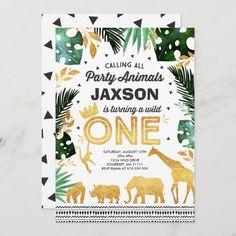 Safari Invitations, Wild One Birthday Invitations, Wild One Birthday Party, Safari Birthday Party, Jungle Party, Animal Birthday, 1st Boy Birthday, First Birthday Parties, First Birthdays