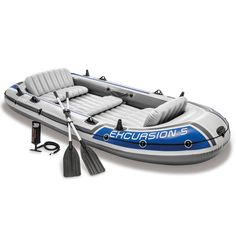 Buy Intex Excursion Inflatable Boat Set with Aluminum Oars and High Output Air Pump (Latest Model) big discount! Only 10 days. Get your Intex Excursion Inflatable Boat Set with Aluminum Oars and High Output Air Pump (Latest Model) now! Kayaks, Arctic Monkeys, Dinghy Boat, Kayak Storage, Inflatable Kayak, Excursion, Fishing Supplies, Fishing Rod, Fishing Tips