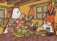 La vache mange des gros pois, le renard un steak à la purée