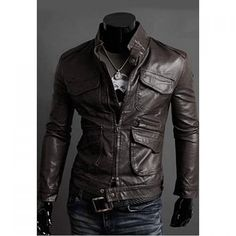 Korean Stand Collar Multi-Pocket Long Sleeves PU Leather Jacket For Men, DARK COFFEE, M in Jackets & Coat | DressLily.com