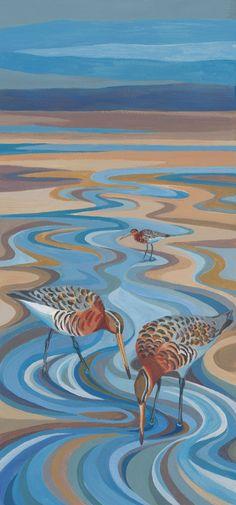 Acrylic painting called 'Black-tailed godwits' by artist Amanda Bradbury. Wildlife Paintings, Wildlife Art, Intarsia Woodworking, Bird Illustration, Bird Prints, Bird Art, Acrylics, Pet Birds, Felting