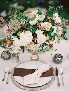 Fall-inspired wedding table decor: http://www.stylemepretty.com/2016/11/17/princess-ethereal-castle-wedding-inspiration/ Photography: Kurt Boomer - http://www.kurtboomer.com/