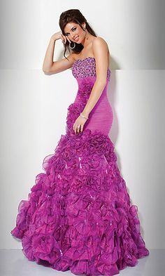 JO-71441 : Full Length Strapless Ruffle Dress