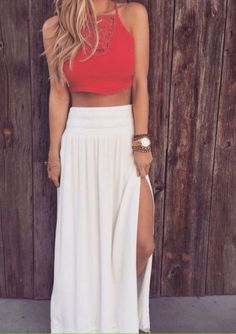 16 Beautiful Maxi Skirt Outfits for Summer: #11. White Split Skirt With Red Crop Top