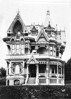 """""""They don't make them like this any more"""" is certainly true of the C. M. Forbes home. This fantastically ornate home was build circa 1887 on the northwest corner of SW Vista Avenue and Park Place. Date of demolition is unknown but the high-rise now on that property was built in 1960. (image held by the University of Oregon Libraries, from the Vintage Portland website)"""